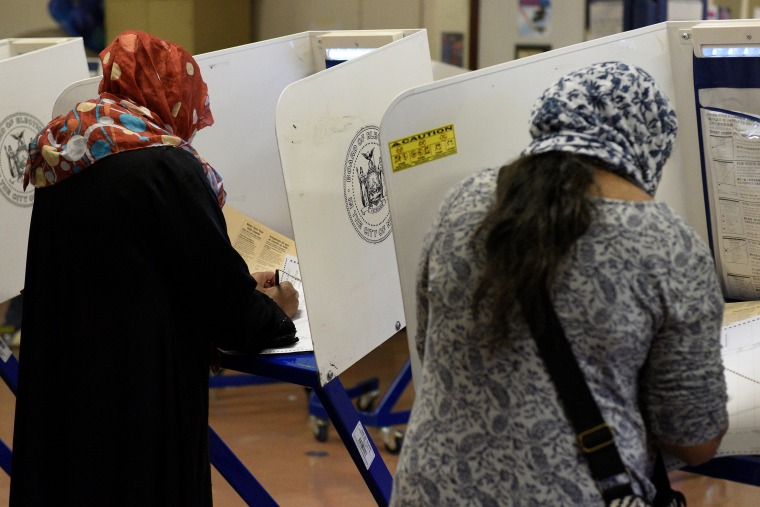 Image: Bangladeshi Americans vote for the U.S. presidential election in the Queens borough of New York