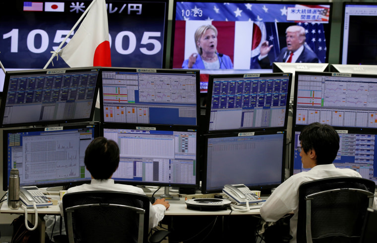 Image: Employees of a foreign exchange trading company work near monitors displaying U.S. Democratic presidential nominee Clinton and U.S. Republican presidential nominee Trump on TV news, and the Japanese yen's exchange rate against the U.S. dollar in To
