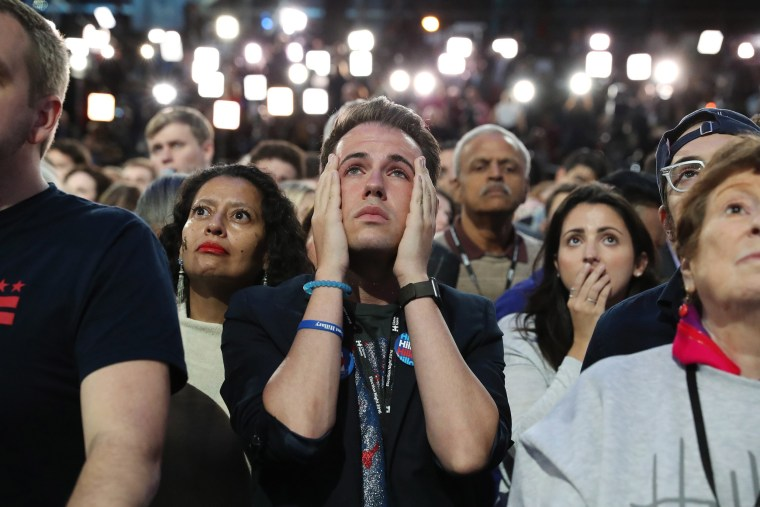 Image: Hillary Clinton supporters watch election results come in