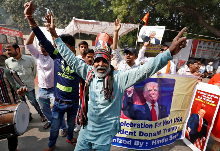 Image: Members of Hindu Sena, a right-wing Hindu group, celebrate Republican presidential nominee Donald Trump's victory in the U.S. elections, in New Delhi