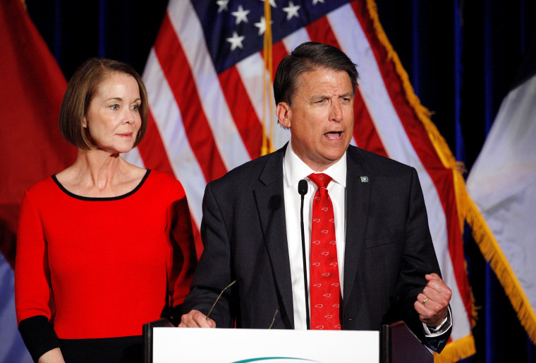 Image: North Carolina Governor Pat McCrory tells supporters that the results of his contest against Democratic challenger Roy Cooper will be contested, while his wife Ann looks on, in Raleigh, North Carolina