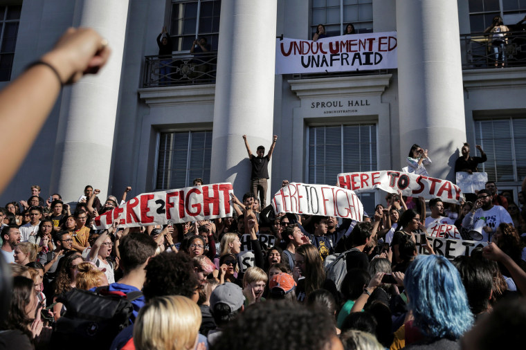 Image: Students protest immigration policy in response to the election of Republican Donald Trump as President of the United States in Berkeley, California