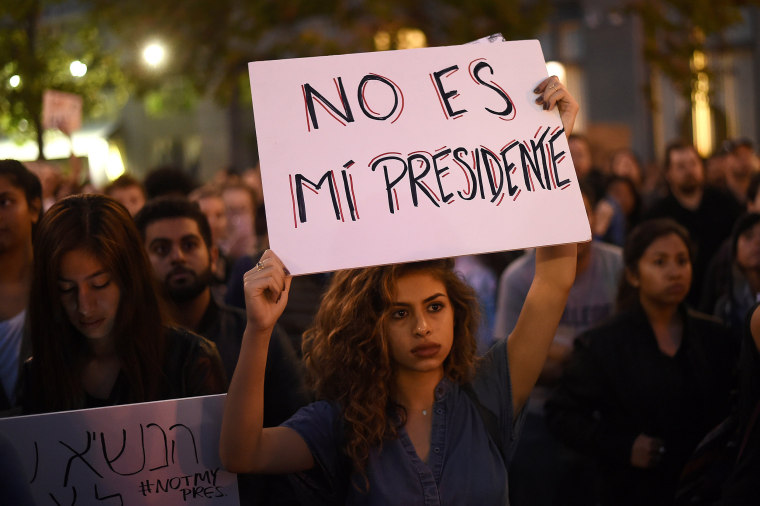Image: Kimmy rallies with protesters in Oakland, California, U.S. following the election of Donald Trump as President of the United States