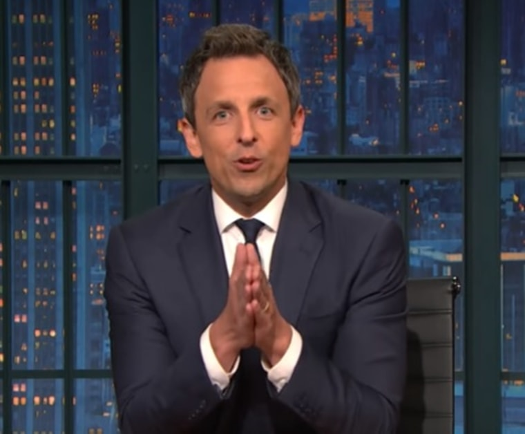 """Seth Meyers speaks on his show """"Late Night with Seth Meyers"""" in this image from video on YouTube on Wednesday, Nov. 9, 2016."""