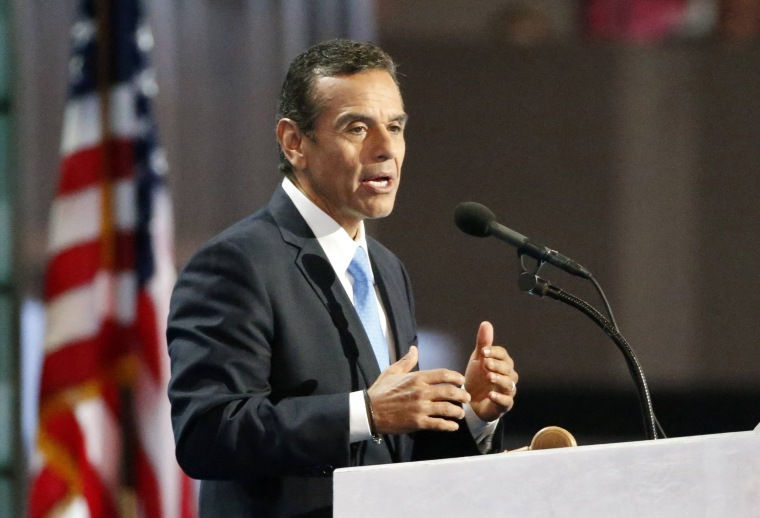 Image: File photo of former Los Angeles Mayor Villaraigosa speaking at the Democratic National Convention in Philadelphia