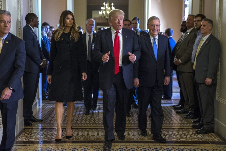 Image: President elect Donald Trump meets with Senate Majority Leader Mitch McConnell in the US Capitol
