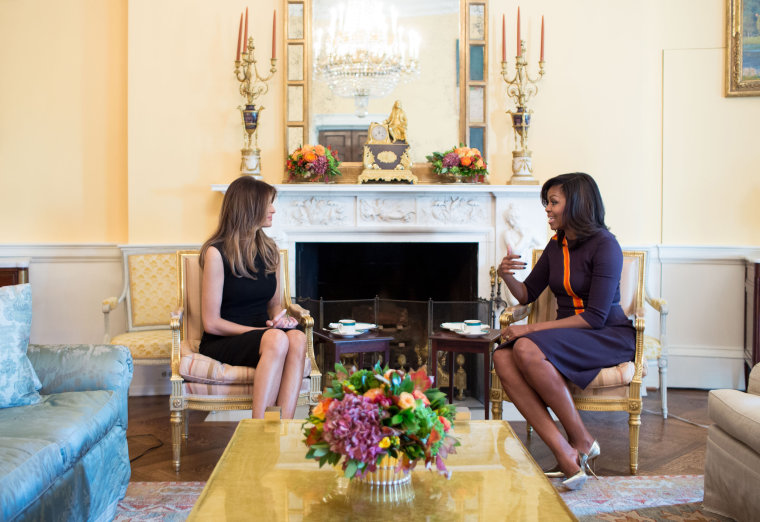 First lady Michelle Obama meets with Melania Trump for tea in the Yellow Oval Room of the White House, Nov. 10.