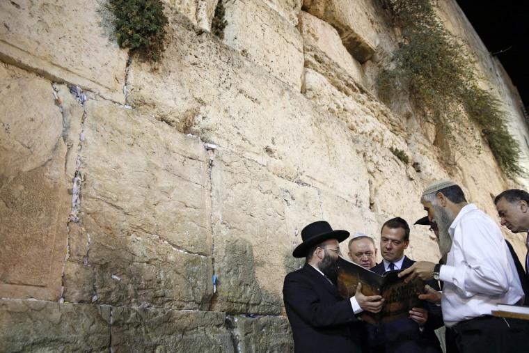 Image: Russia's Prime Minister Medvedev visits Western Wall in Jerusalem
