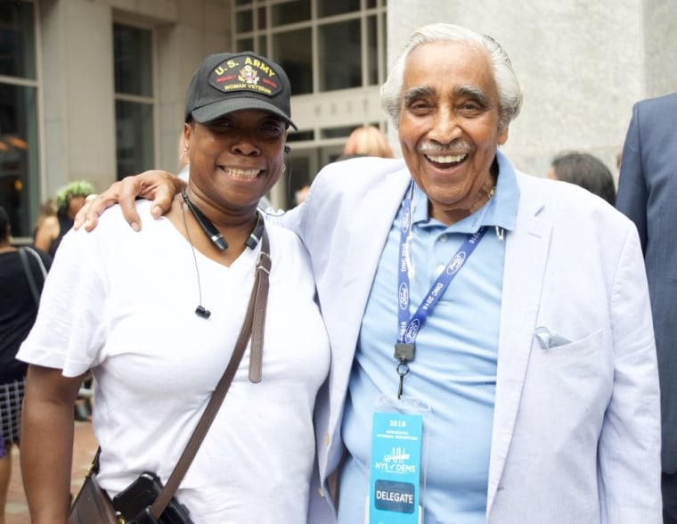 Dr. Remolia Simpson, CEO of My Brother's House, and Rep. Charles B. Rangel (D-N.Y.)