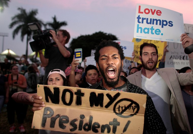 Image: People protest against U.S. President-elect Donald Trump in Miami
