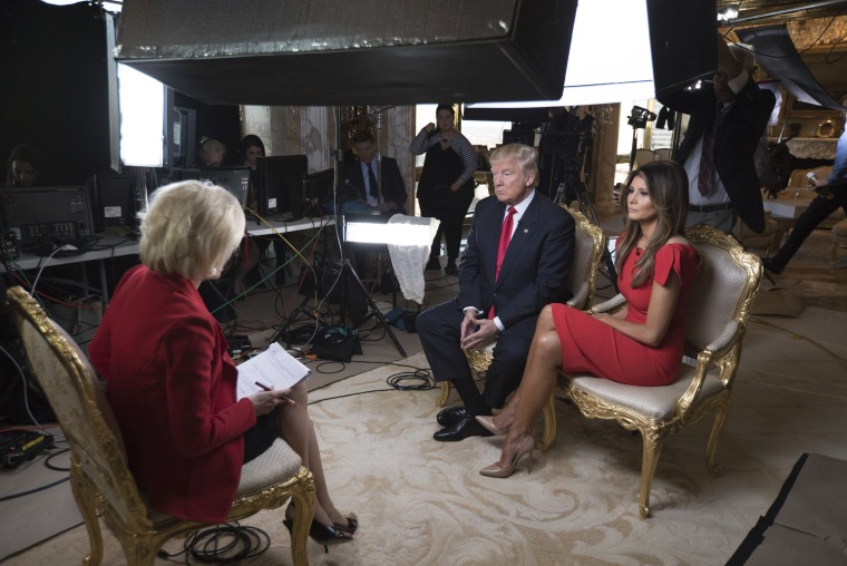 In this image released by CBS News, 60 MINUTES Correspondent Lesley Stahl interviews President-elect Donald J. Trump and his wife Melania at their home, Friday, Nov. 11, 2016, in New York. The first post-election interview for television will be broadcast on 60 MINUTES on Sunday.