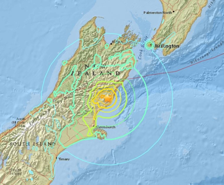 Image: USGS map showing the epicenter of Sunday's New Zealand quake.