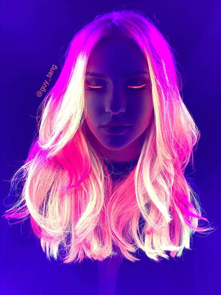 Colorist Guy Tang's neon glow-in-the-dark hair.