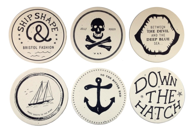 Cool bygone phrases and graphics bring a nautical notion to tabletops.