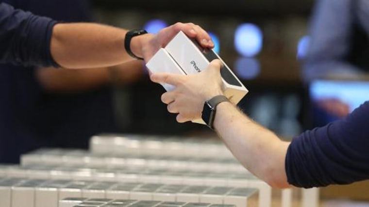 Apple iPhone 7 mobile phones being sold. Getty Images.