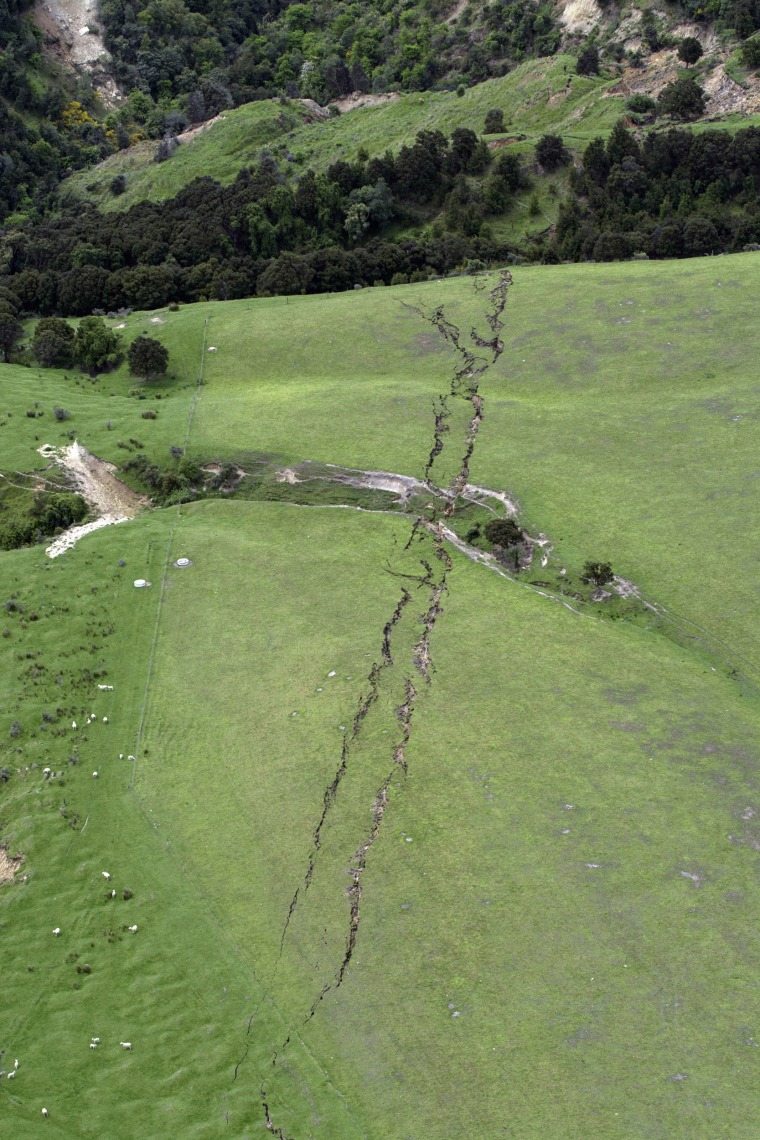 Image: Cracks in farmland around Conway near Kaikoura, New Zealand, are seen after a powerful earthquake