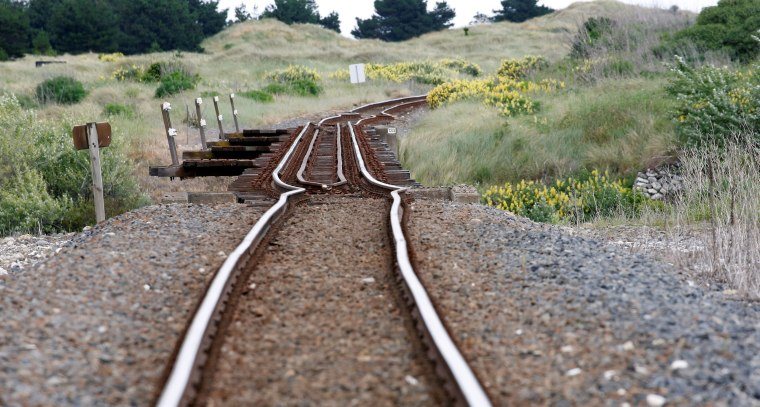 Image: A railway line is damaged by an earthquake, near Tirohanga stream south of Blenheim on the South Island of New Zealand