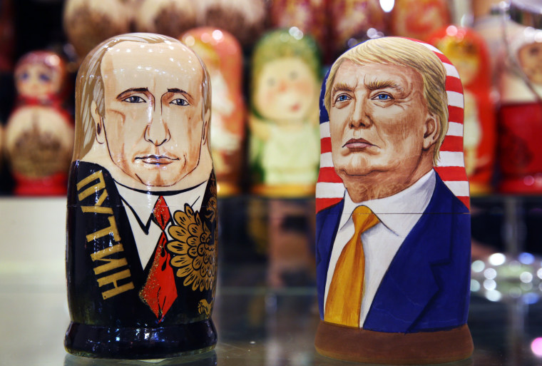 Image: Russian dolls in likeness of Russian and American politicians in Moscow, Russia