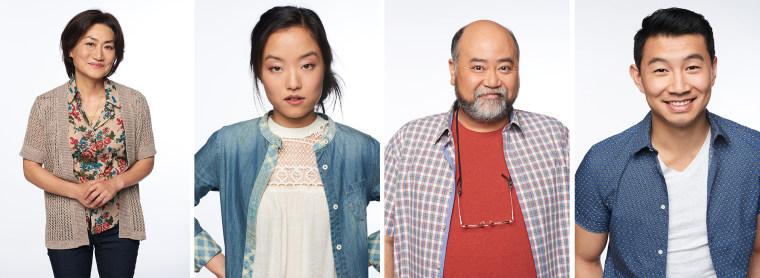 The Kims -- Umma (Jean Yoon), Janet (Andrea Bang), Appa (Paul Sun-Hyung Lee), and Jung (Simu Liu)
