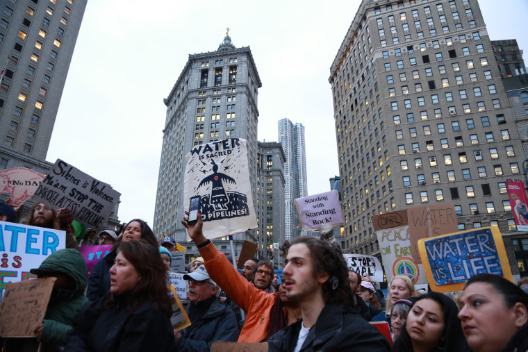 """Protesters of the Dakota Access Pipeline chant, """"This is our future, this is our drinking water"""" at a peaceful demonstration in lower Manhattan on Nov. 15."""