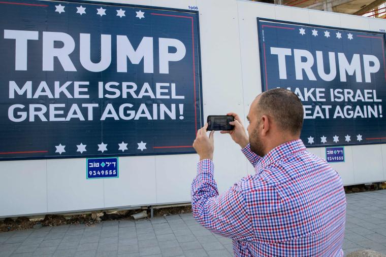 "Image: ""Trump Makes Israel Great Again"" placard in Tel Aviv"