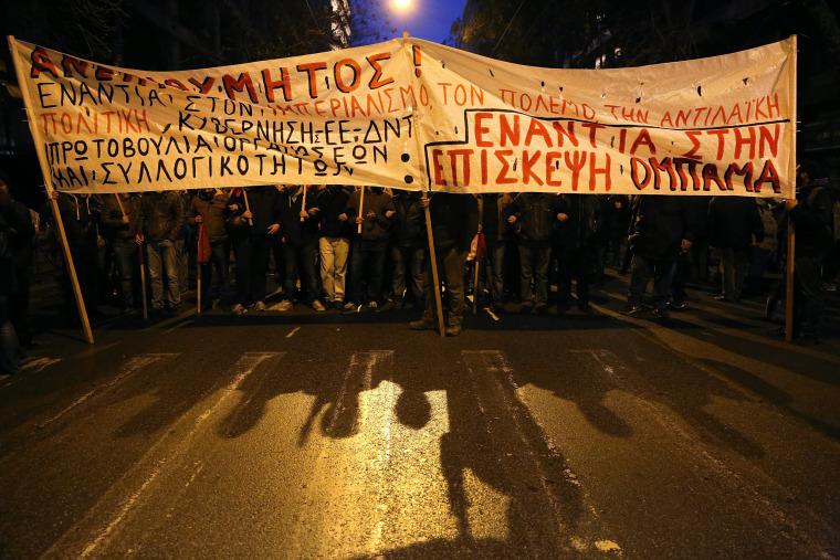Image: Protests against US President Barack Obama's visit to Athens