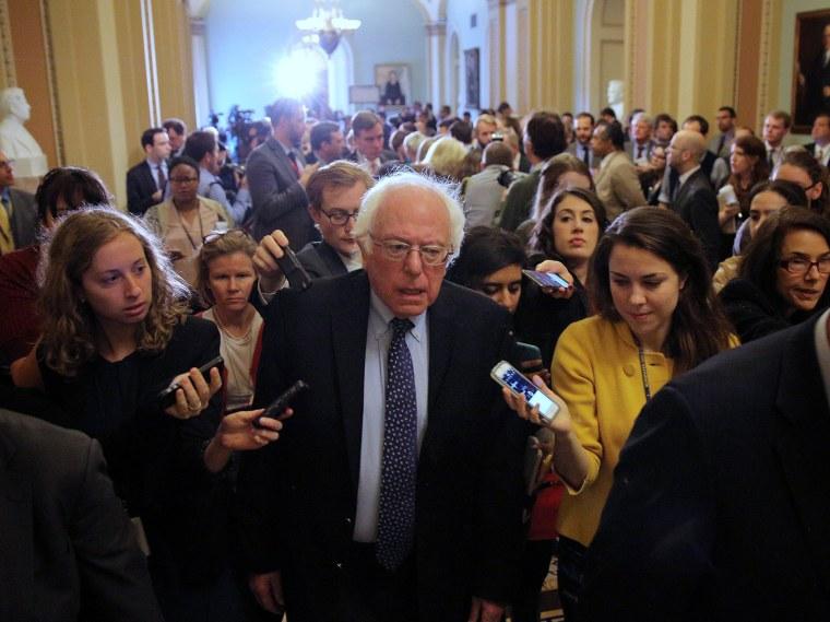 Image: U.S. Senator Bernie Sanders leaves after attending the Senate Democrat party leadership elections at the U.S. Capitol in Washington