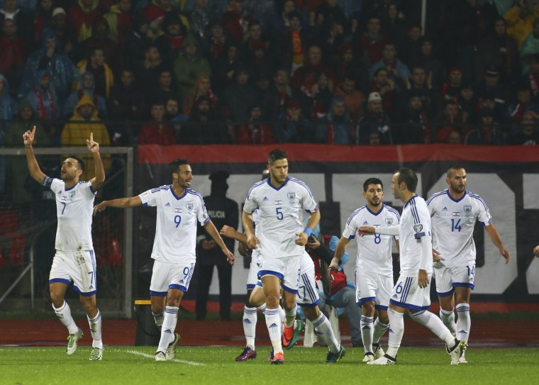 Image: Israel's national soccer team celebrate a goal against Albania on Nov. 12, 2016