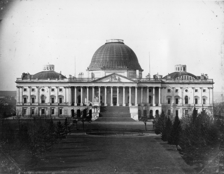 Image: This daguerreotype photograph by John Plumbe Jr., shows the east front exterior of the U.S. Capitol in Washington, D.C., circa 1846