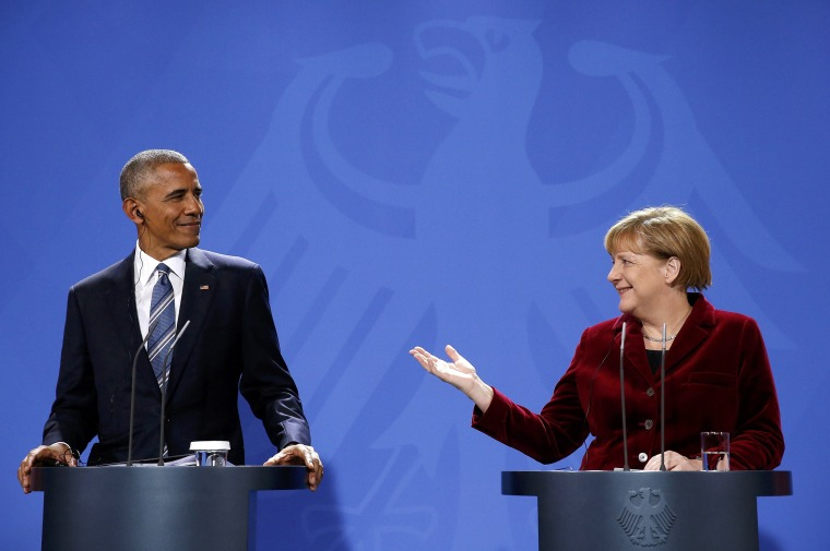 Image: German Chancellor Merkel speaks during a joint news conference with U.S. President Obama in Berlin