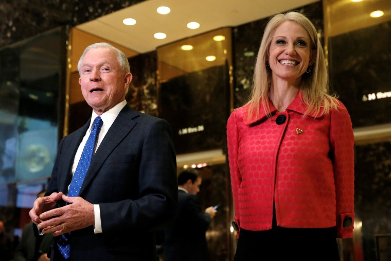 Image: United States Senator Jeff Sessions (R-AL), an advisor to U.S. President Elect Donald Trump, speaks to members of the media alongside Trump's senior advisor Kellyanne Conway in the lobby of Trump Tower in the Manhattan borough of New York City