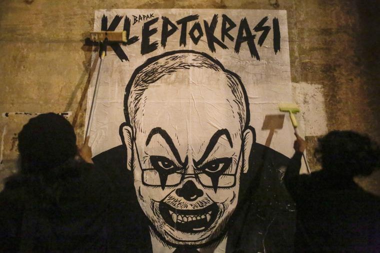 Image: Malaysia Prime Minister Najib Razak Clown Face Caricature Poster