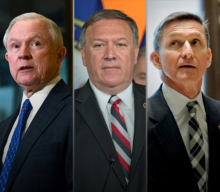 Image: From left, Jeff Sessions, Mike Pompeo and Mike Flynn