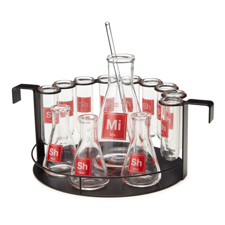 Master the art of mixing with this fun lab-themed set.