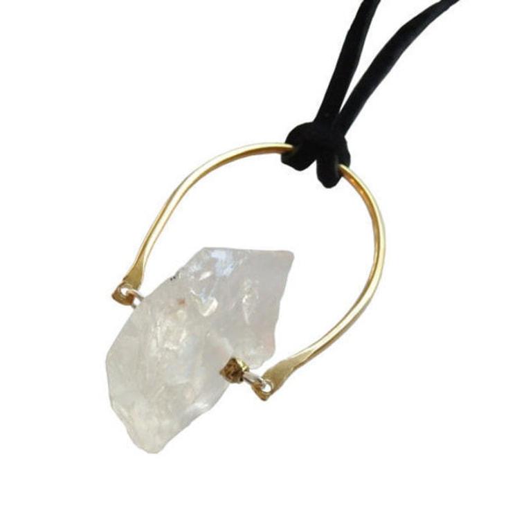Metrix Jewelry quarty crescent pendent necklace