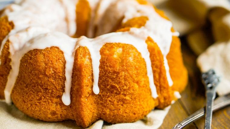 Pumpkin Bundt cake with white glaze