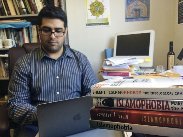Khairuldeen Makhzoomi works in his office in Berkeley, Calif., Monday, April 18, 2016.
