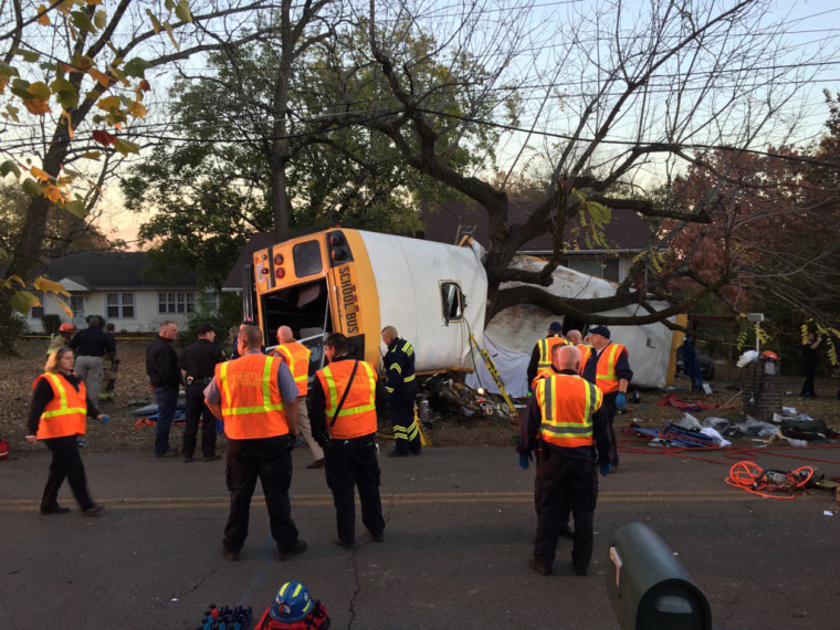 First responders tend to the scene of a school bus crash in Chattanooga, Tennessee, Nov. 21.