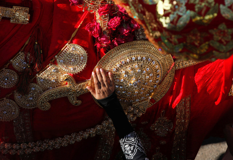 Image: A hand of a Shi'ite Muslim woman touches the gold-ornamentation of sword and shield, placed on a symbolic sacred horse for a good luck, during Chelum, a procession to mark the fortieth day after the death of Imam Hussain, grandson of the Prophet Mu