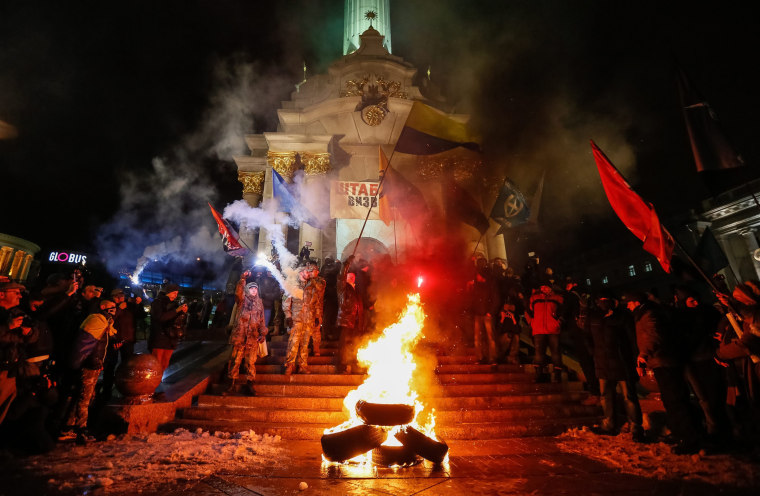 Image: A rally of activists of Ukrainian nationalist groups in Kiev during marking the anniversary of the Euromaidan Revolution in Kiev