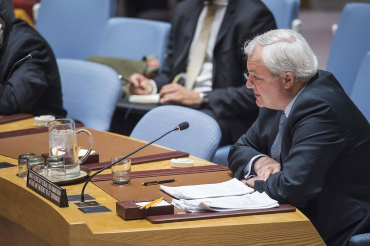 United Nations Emergency Relief Coordinator Stephen O'Brien at the Security Council