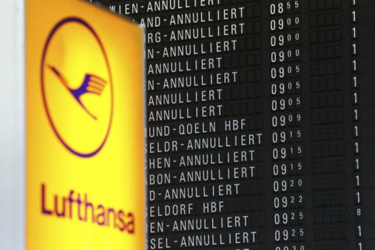 A flight information board shows cancelled flights during a pilots strike of German airline Lufthansa at  Frankfurt airport