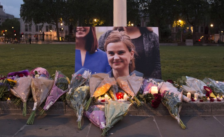Image: Floral tributes to British MP Jo Cox.
