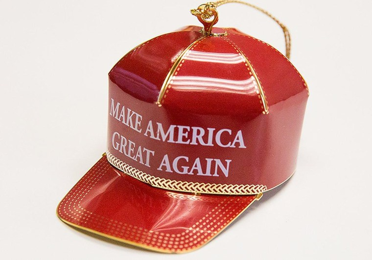 """Donald Trump's iconic """"Make America Great Again"""" hat is now available as a Christmas tree ornament."""