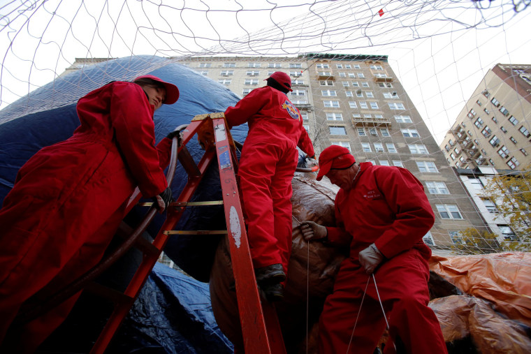 Image: Members of the Macy's Inflation Team help inflate the Paddington Bear balloon ahead of the 90th Macy's Thanksgiving Day Parade in Manhattan, New York, U.S.