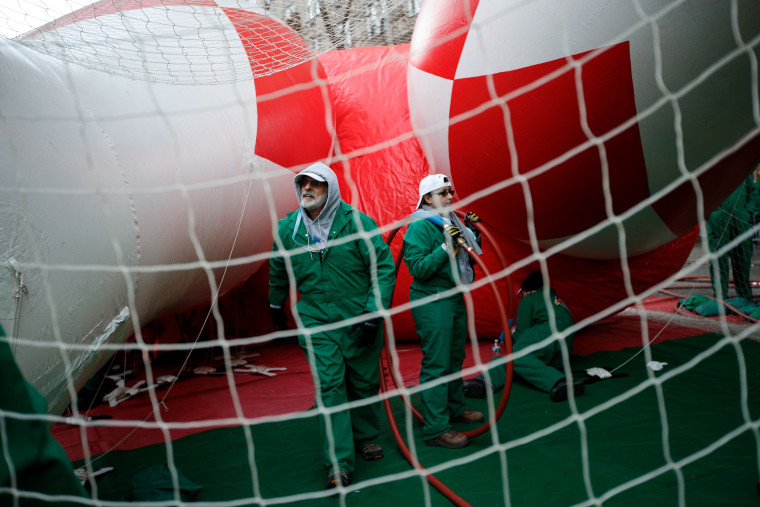 Image: Giant Balloons Inflated Ahead Of Macy's Thanksgiving Day Parade