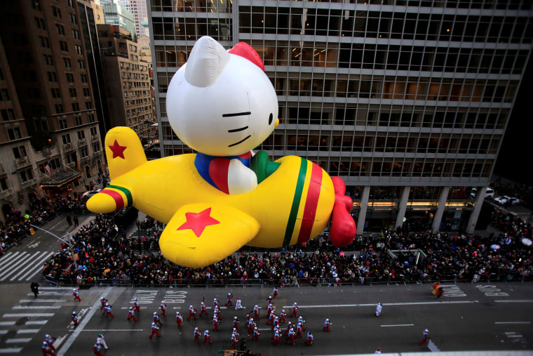 Image: A Hello Kitty float makes its way down 6th Avenue during the 90th Macy's Thanksgiving Day Parade in the Manhattan borough of New York