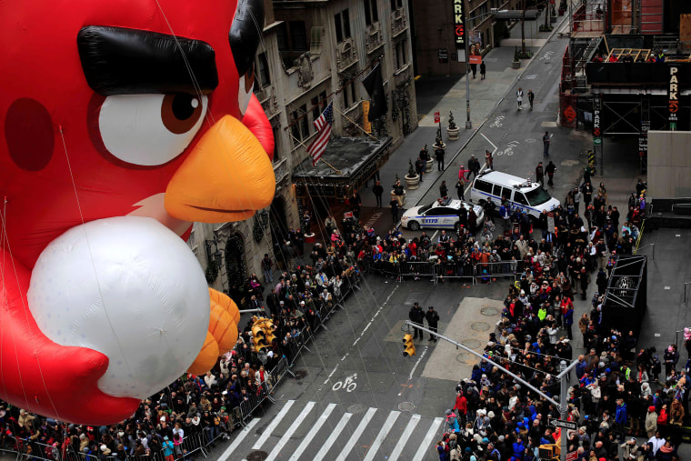 Image: An Angry Bird float makes its way down 6th Avenue during the 90th Macy's Thanksgiving Day Parade in the Manhattan borough of New York