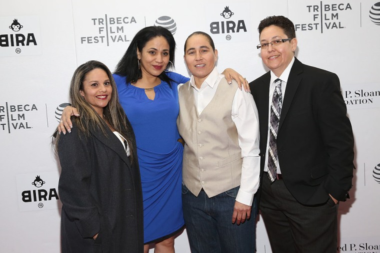 (L-R) Elizabeth Ramierz, Cassandra Rivera, Anna Vasquez and Kristie Mayhugh attend the 'Southwest of Salem: The Story of the San Antonio Four' premiere during the 2016 Tribeca Film Festival on April 15, 2016 in New York City.