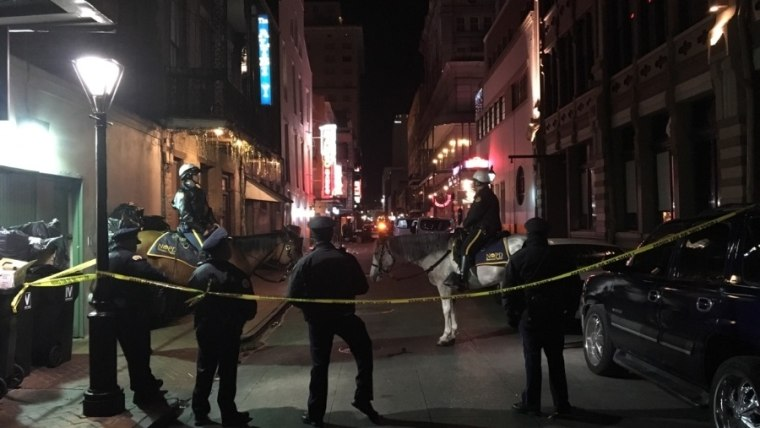 Image: The scene of the shooting in the early hours of Sunday in the heart of New Orleans' French Quarter.